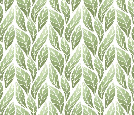 Decorative Leaves Seamless Pattern. Continuous leaf background. Floral Texture.