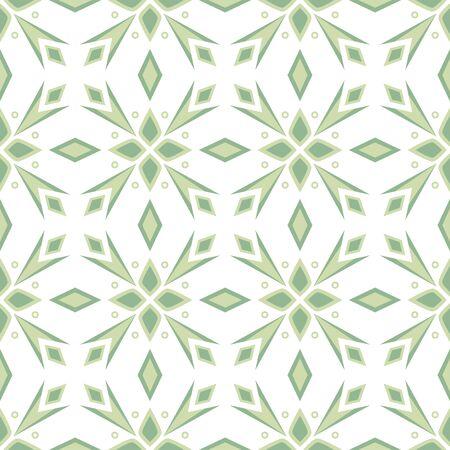 Ornamental Abstract floral tiles seamless vector pattern. Geometric Flower Background. Ilustração