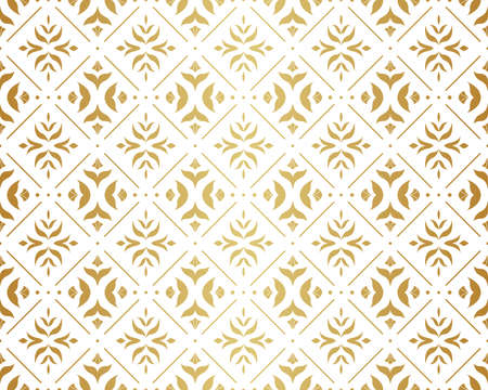 Abstract Decorative Tile. Geometric Ginkgo Seamless Pattern. Floral background. Ilustração