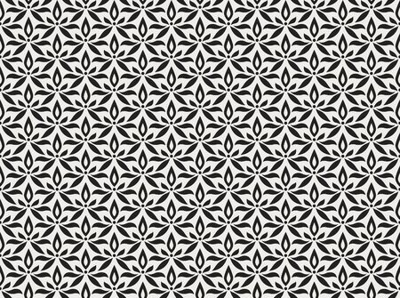 Vector floral abstract seamless pattern. Geometric classical background with leaves. Retro stylish texture. Banco de Imagens - 150545881