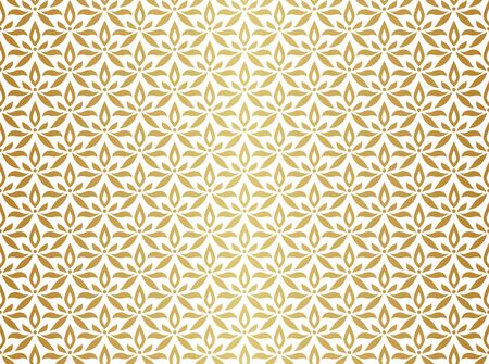 Vector floral abstract seamless pattern. Geometric classical background with leaves. Retro stylish texture. Banco de Imagens - 150545882