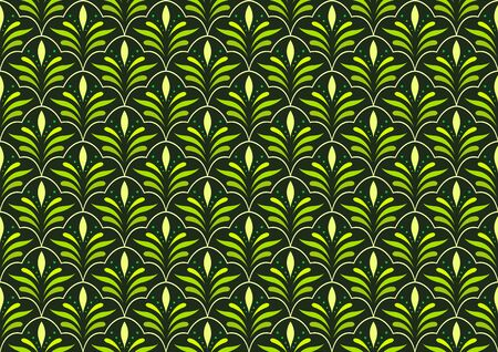 Vector floral abstract seamless pattern. Geometric classical background with leaves. Retro stylish texture. Illustration