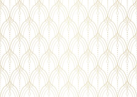 Seamless Geometric Art Deco Pattern. Abstract vector floral background. Banco de Imagens - 150545942