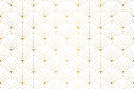 Vintage Vector Art Deco Seamless Pattern. Geometric decorative texture. Vector floral background. Banco de Imagens - 151222578