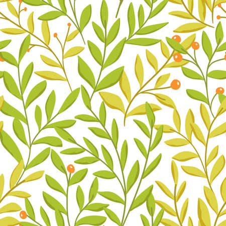 Floral vector seamless pattern. Delicate botanical wallpaper. Repeatable background with leaves. Vectores