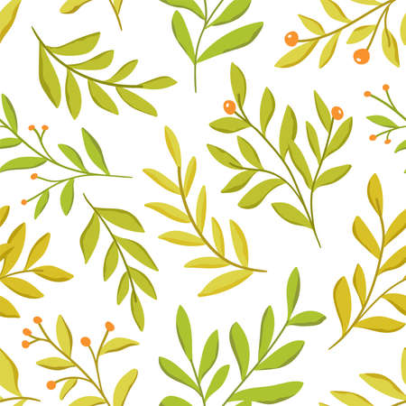 Vector hand drawn leaves seamless pattern. Abstract trendy floral background. Repeatable texture. Vectores