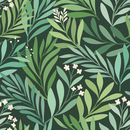 Floral vector seamless pattern. Delicate botanical wallpaper. Repeatable background with leaves. Illustration