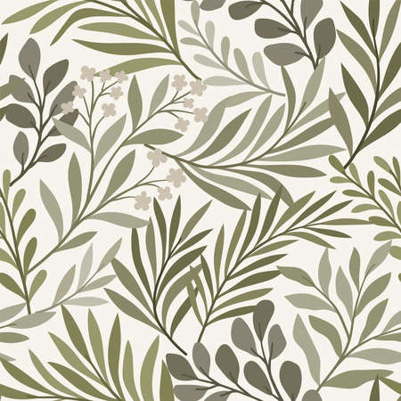 Vector hand drawn leaves seamless pattern. Abstract trendy floral background. Repeatable texture. Illustration