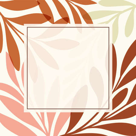 Square template with botanical elements. Modern vector floral illustration for print design, social media post, web ads. Abstract plant background. Illustration