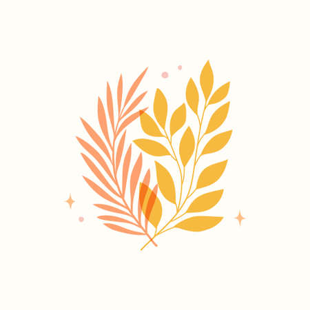 Vector modern floral arrangement background. Cute delicate botanical illustration with leaves and plants.