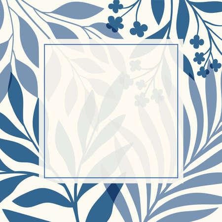 Modern floral vector banner. Botanical illustration template background. Abstract plant elements for print design, social media, post banner and presentation.