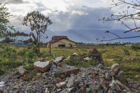 severe damage from earthquake and liquefaction natural disasters in Petobo village, Palu city, Central Sulawesi, indonesia