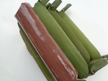 Close up view of getuk pisang kediri, east java. traditional snacks handed down from the royal era. Made from plantain king jackfruit banana or pisang raja nangka. The sweet taste of hard texture.