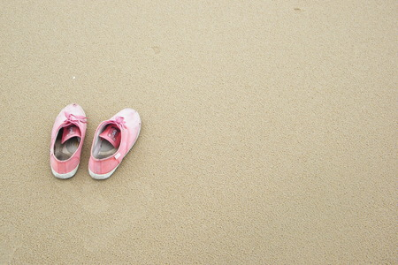 pink shoes: Beach with pink shoes