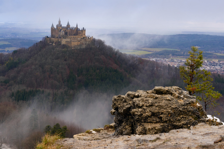 royal family: The panoramic view on Hohenzollern Castle, Germany, the residence of the former royal family of German Empire