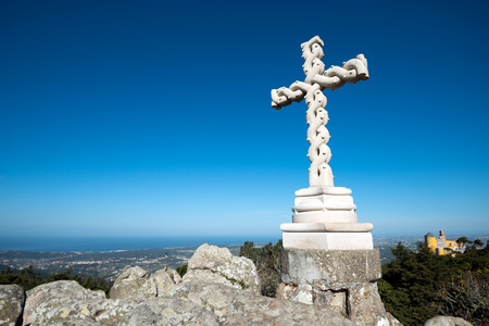 the pena national palace: The twisted cross at the Pena National Palace, Romanticist palace in Sao Pedro de Penaferrim.