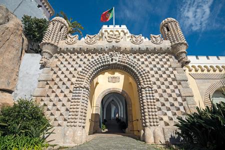 the pena national palace: The main entrance to the Pena National Palace, Romanticist palace in Sao Pedro de Penaferrim.