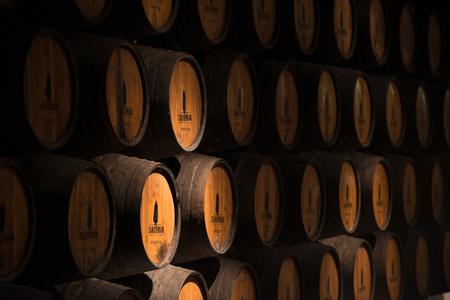 porto: Barrels of Porto vine in a cellarin Porto, Portugal