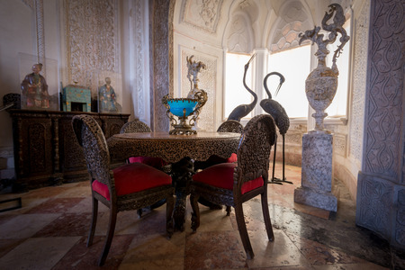 the pena national palace: SINTRA, PORTUGAL - FEBRUARY 05, 2016: Interior of the bedroom at Pena National Palace, Romanticist palace in Sao Pedro de Penaferrim. Editorial