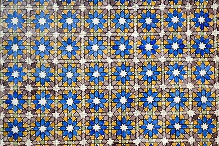 the pena national palace: Colorful tiles of the Pena National Palace, Romanticist palace in Sao Pedro de Penaferrim. Editorial