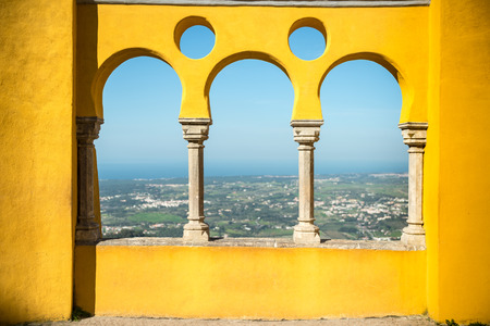 the pena national palace: Pena National Palace  gallery and valley of Sintra at summer day from the terrace, Portugal