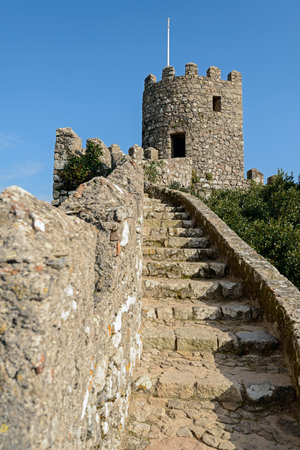 hill of the king: Castle of the Moors is medieval castle by Moors in Sintra, Portugal Editorial