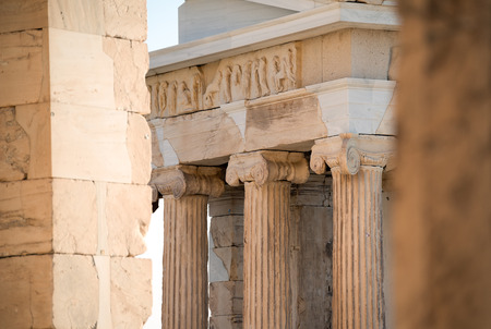 athena: A fragment of freeze of the Temple of Athena Nike  shows that Acropolis of Athens was richly decorated.