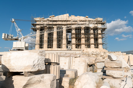 ongoing: The ongoing reconstruction of the site can not belittle to great  Classic architecture of Parthenon Acropolis of Athens Stock Photo