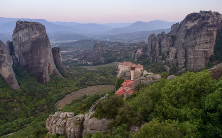 Morning view on the Meteora vally with the Rousanou, the St. Nicholas Anapausas and Grand Meteora monasteries