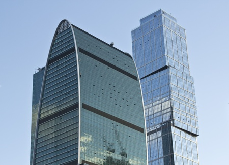 Two of the several office buildings of moscow business center, the city Stock Photo - 11962848