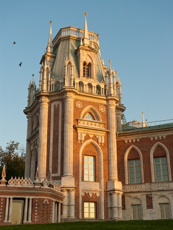 Grand palace in Tsaritsyno at sunset, Moscow, Russia photo