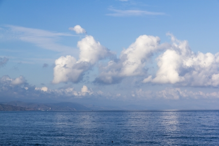distant spot: Panoramic view of the seafront of Crimea with mountains Stock Photo