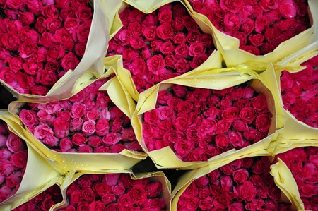 bouquet of roses sold in the market.