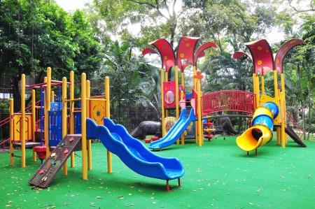 a colourful children playground equipment.