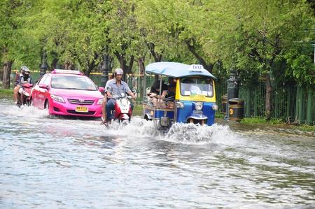 flooded street in bangkok october 2011