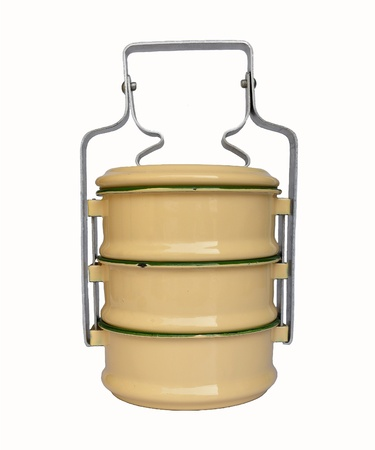 tiffin: metal food carrier Stock Photo