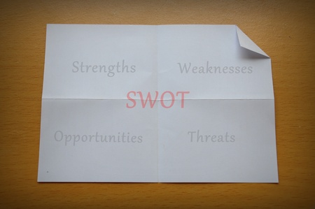 SWOT analysis, strength, weakness, opportunity, and threat words on blackboard. Stock Photo