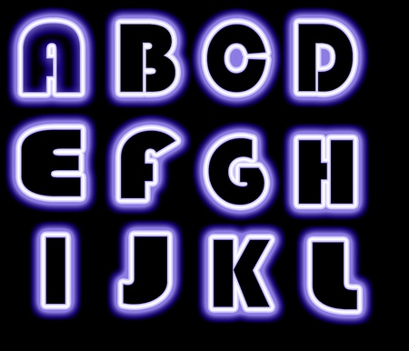 Font Purple collection  on black background photo