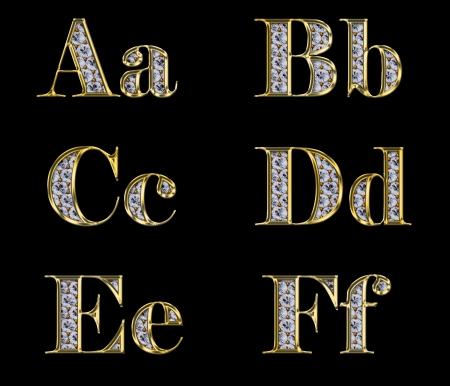 gold letters: Alfabeto de oro con diamantes, cartas de A a F