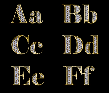 bright alphabet: Golden alphabet with diamonds, letters from A to F