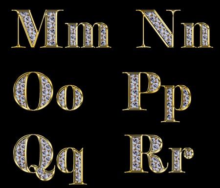 bijoux diamant: Alphabet d'or avec des diamants, des lettres de M � R