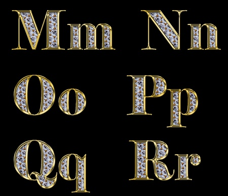 Golden alphabet with diamonds, letters from M to R