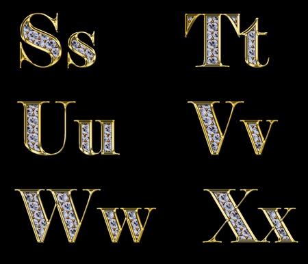 bijoux diamant: Alphabet d'or avec des diamants, des lettres de S � X