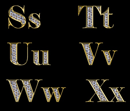 Golden alphabet with diamonds, letters from S to X photo