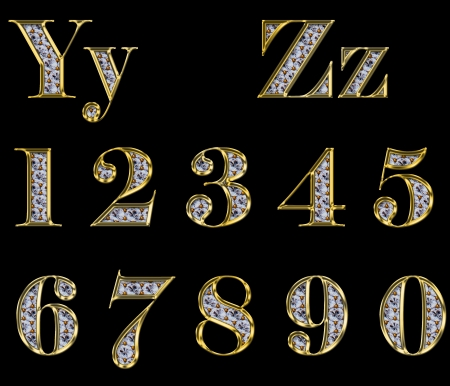 Golden alphabet with diamonds, letters from Y to Z and 1-0 Stock Photo