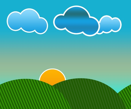 Vector illustration of an idyllic sunny nature background with a blue gradient stripes sky, green grass layers of grass and sky. Stock Photo