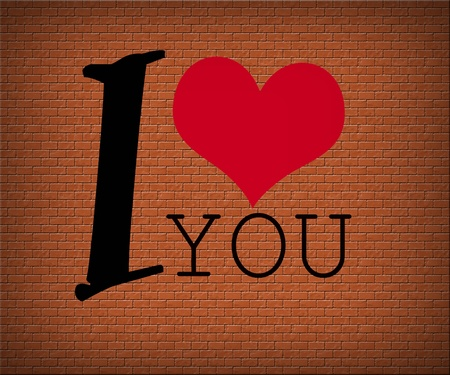 red heart with text ,I love you, photo