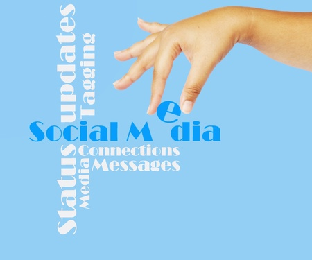 Social media as showed with different social media terms Stock Photo