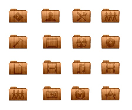 wooden icon isolated on white background Stock Photo