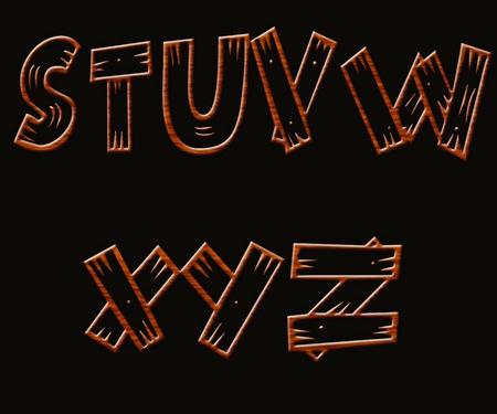 Wood font isolated on black background